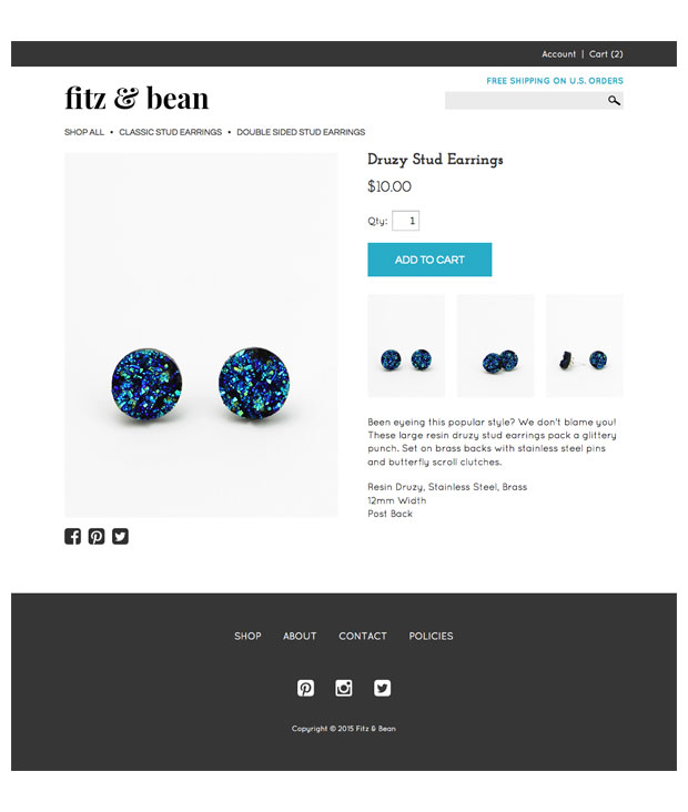 Fitz and Bean Product Page Design
